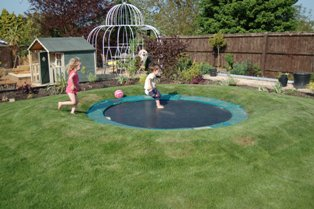 Sunken trampoline in action