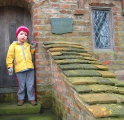 Oscar outside Walnut Cottage